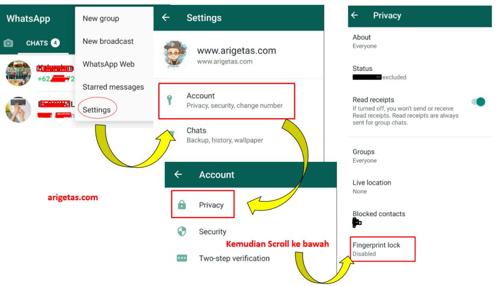 Tahapan cara aktifkan fingerprint atau kunci sidik jari WhatsApp