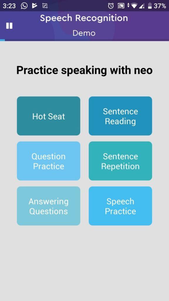 Aplikasi Belajar Bahasa Inggris Neo Study memiliki banyak pilihan latihan misalnya untuk speaking