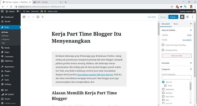 memilih kerja part time blogger punya keunggulan yang berbeda dengan full time blogger