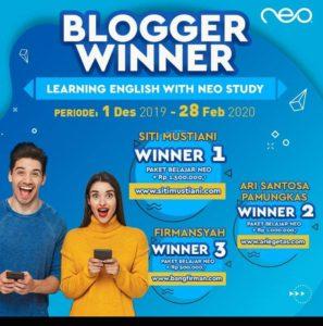 Jalan rezeki blogger aku salah satunya adalah menang lomba blog neo study