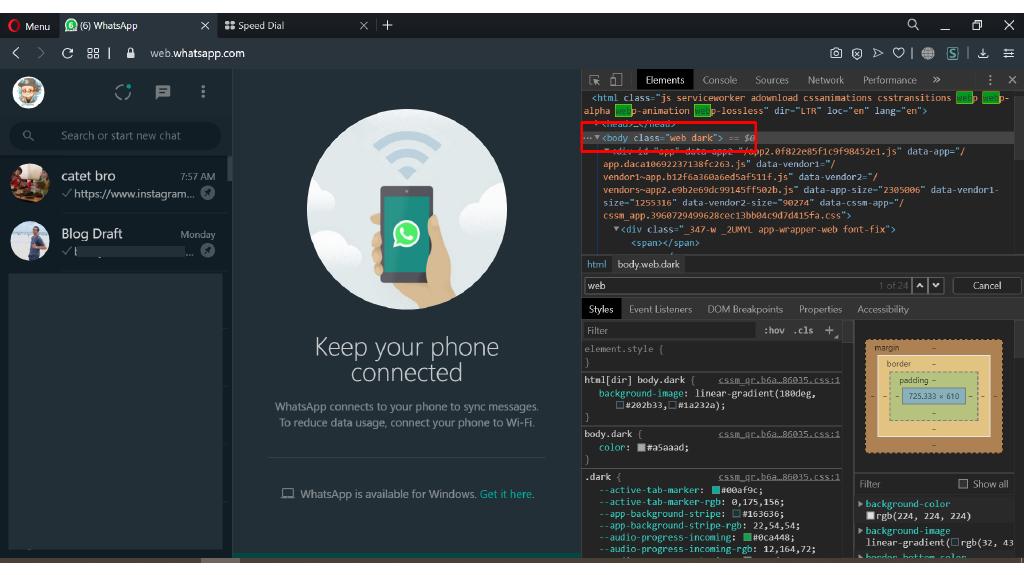 WhatsApp Web Mode Gelap bisa aktif dengan menambahkan kata dark di body class