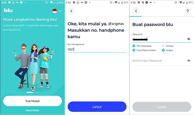 cara membuat akun di aplikasi blu by BCA Digital melalui smartphone android