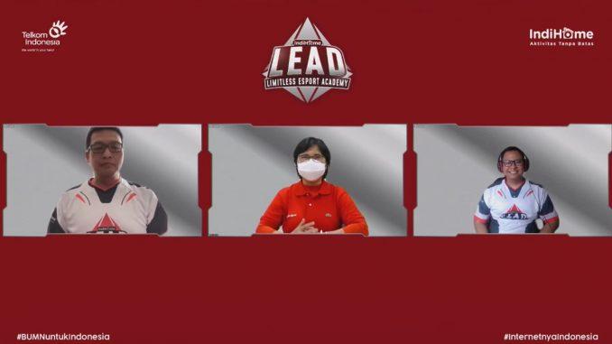 peluncuran LEAD by IndiHome secara virtual yang merupakan akademi eSport utuk mencetak atlet dengan skill dan mental yang handal